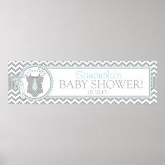 Blue Tie & Chevron Print Baby Shower Banner