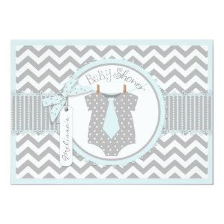 Blue Tie & Chevron Print Baby Shower Custom Announcement
