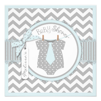Blue Tie Chevron Print Baby Shower Personalized Invitations