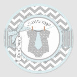 Blue Tie & Chevron Print Baby Shower Classic Round Sticker