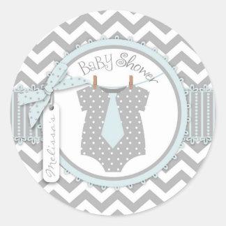 Blue Tie Chevron Print Baby Shower Round Sticker