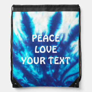 Blue Tie Dye Customized Drawstring Backpack