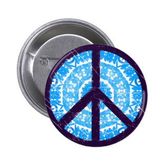 Blue Tie-dye Peace Sign 2 Inch Round Button