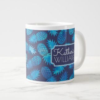 Blue Tie Dye Pineapples | Add Your Name Large Coffee Mug