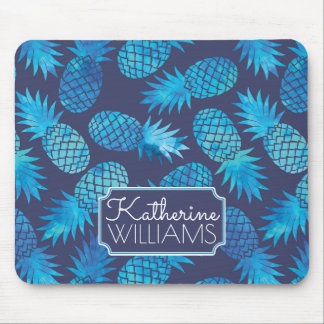 Blue Tie Dye Pineapples | Add Your Name Mouse Pad