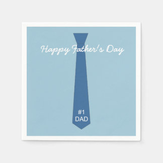 Blue Tie Father's Day Paper Napkins