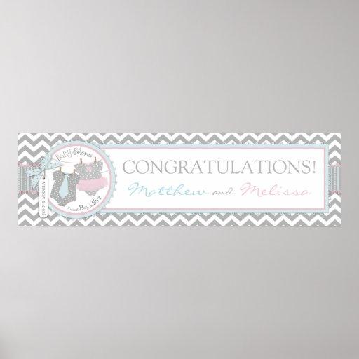 Blue Tie & Pink Tutu & Chevron Baby Shower Banner Poster