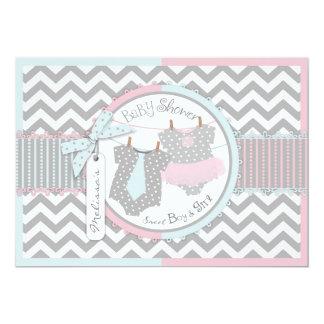 Blue Tie & Pink Tutu & Chevron Twins Baby Shower Invitation