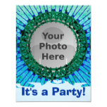 "Blue Tiedye Photo Invitations 4.25"" X 5.5"" Invitation Card"