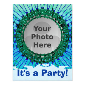 Blue Tiedye Photo Invitations