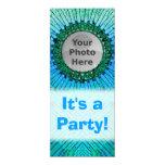 "Blue Tiedye Photo Invitations 4"" X 9.25"" Invitation Card"