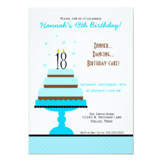 Blue Tiered Cake 18th Birthday Party Invitation