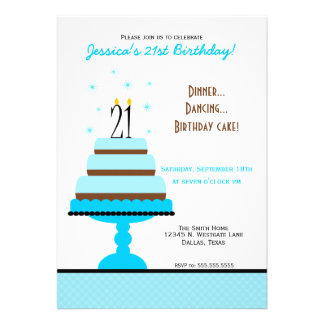 Blue Tiered Cake 21st Birthday Party Invitation