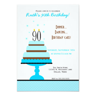 Blue Tiered Cake 90th Birthday Party Card