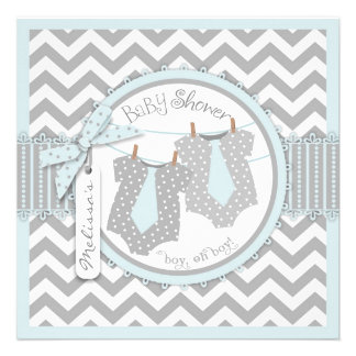 Blue Ties Chevron Print Twin Boys Baby Shower 2 Custom Invitations
