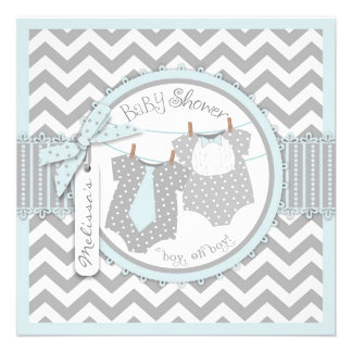 Blue Ties Chevron Print Twin Boys Baby Shower Invite