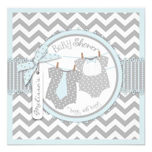 Blue Ties & Chevron Print Twin Boys Baby Shower Invite
