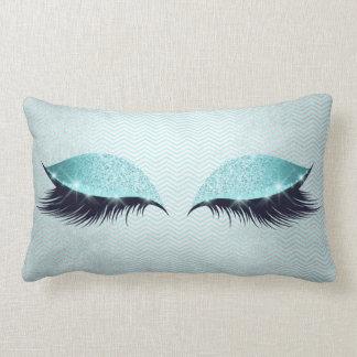 Blue Tiffany Cat's Eye Lashes Glitter Makeup Black Lumbar Pillow