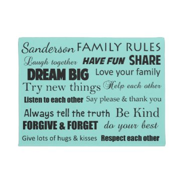 McTiffany Tiffany Aqua Blue Tiffany Family Rules Personalized Door Mat