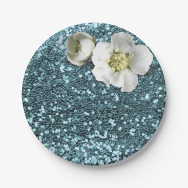 Beach Themed Blue Tiffany Floral White Jasmine Glitter Paper Plate