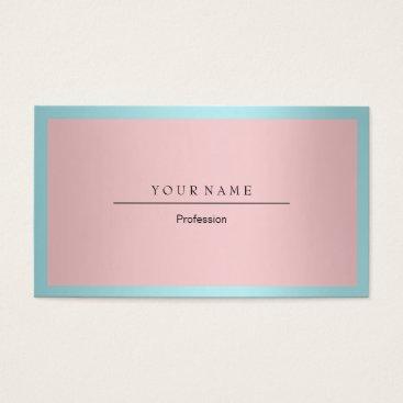 Professional Business Blue Tiffany Ocean Frame Minimal Pink Metallic Business Card