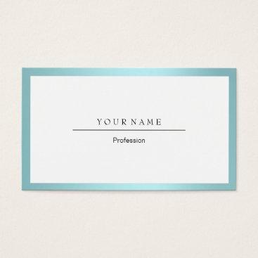 Professional Business Blue Tiffany Ocean Frame Minimal White Metallic Business Card