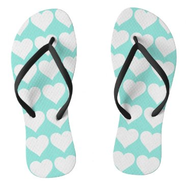 McTiffany Tiffany Aqua Blue Tiffany Wedding Hearts Party Flip Flops