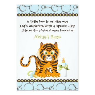 Blue Tiger Baby Shower Invitation for Boys