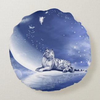 Blue tiger blue moon round pillow