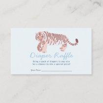 Blue Tiger Boy Baby Shower Diaper Raffle Ticket Enclosure Card
