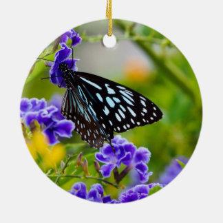 Blue tiger butterfly ceramic decoration