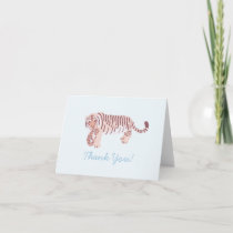 Blue Tiger Mom & Cub Baby Shower Thank You Card