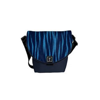 Blue Tiger Print Messenger Bag