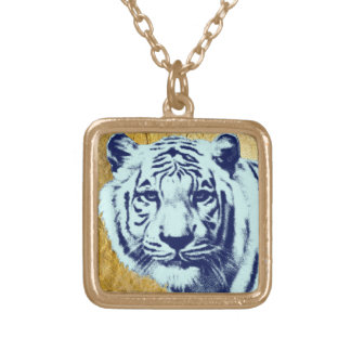 Blue Tiger Square Pendant Necklace
