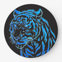 Blue Tiger Wall Clock