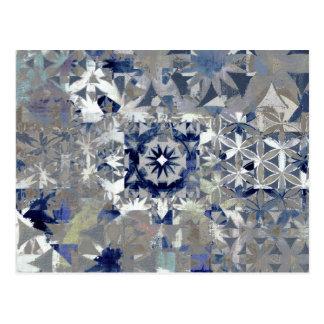 Blue Tile Abstract Art Postcard