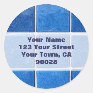 blue tile address labels
