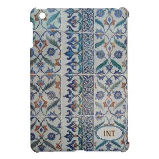 Blue Tile Art Design, Add Initials! or short Name Case For The iPad Mini