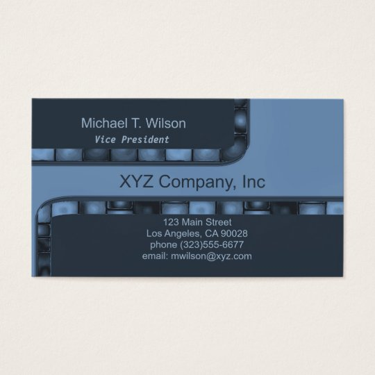 blue Tile Border Business Card