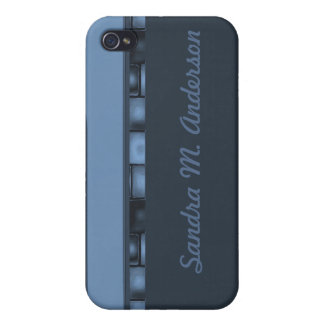 Blue Tile Border iPhone 4/4S Cover