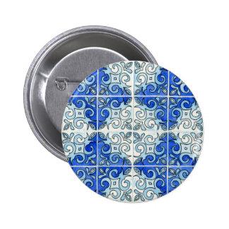 Blue Tile Design 2 - Swirls 2 Inch Round Button