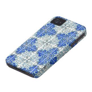 Blue Tile Design 2 - Swirls Case-Mate iPhone 4 Cases