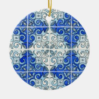 Blue Tile Design 2 - Swirls Ceramic Ornament
