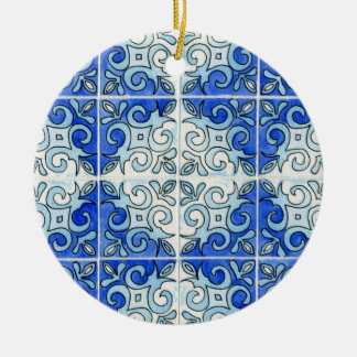 Blue Tile Design 2 - Swirls Double-Sided Ceramic Round Christmas Ornament