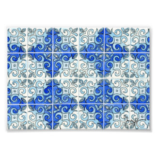 Blue Tile Design 2 - Swirls Photo Print