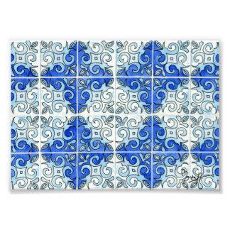 Blue Tile Design 2 - Swirls Photo Print