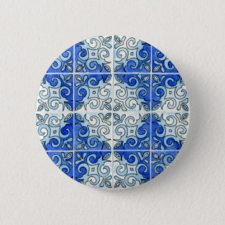 Blue Tile Design 2 - Swirls Pinback Button