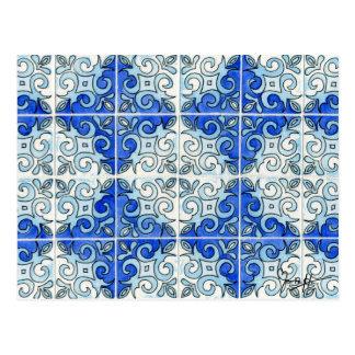 Blue Tile Design 2 - Swirls Postcard