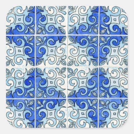 Blue Tile Design 2 - Swirls Sticker