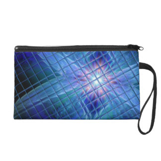 Blue Tile Fractal Clutch Wristlet